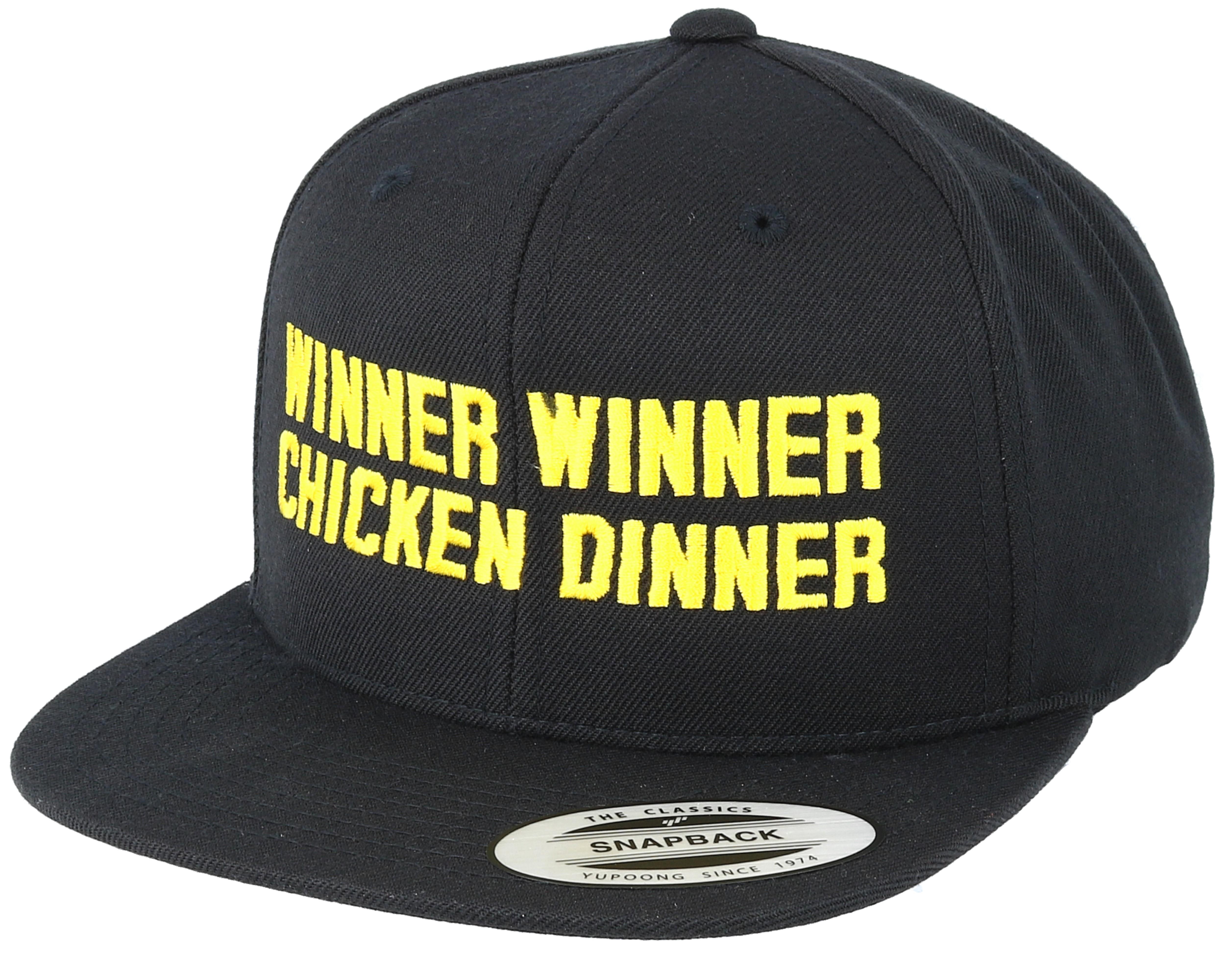 winner winner chicken dinner black snapback iconic caps hatstore