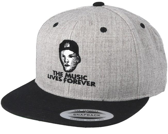 Music Lives Forever Grey Snapback - Iconic caps  e55211dd0164